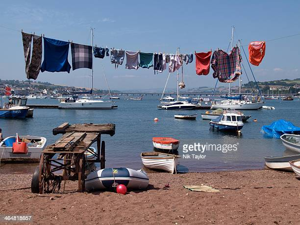 Clothes hanging on washing line at the beach,Teignmouth, Devon, UK