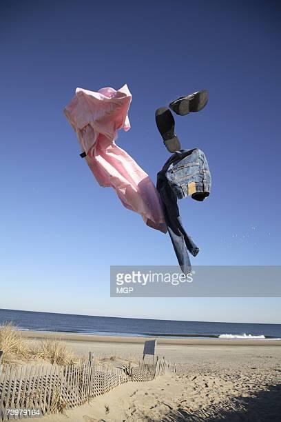 Clothes in air on beach