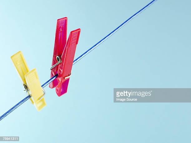 Clothes pegs on washing line