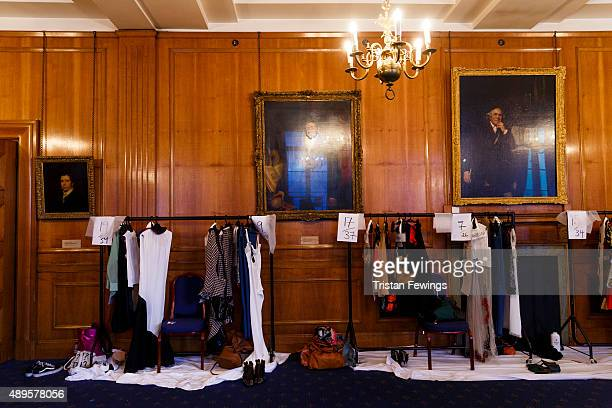 Clothes rails backstage ahead of the Toga show during London Fashion Week Spring/Summer 2016 on September 22 2015 in London England