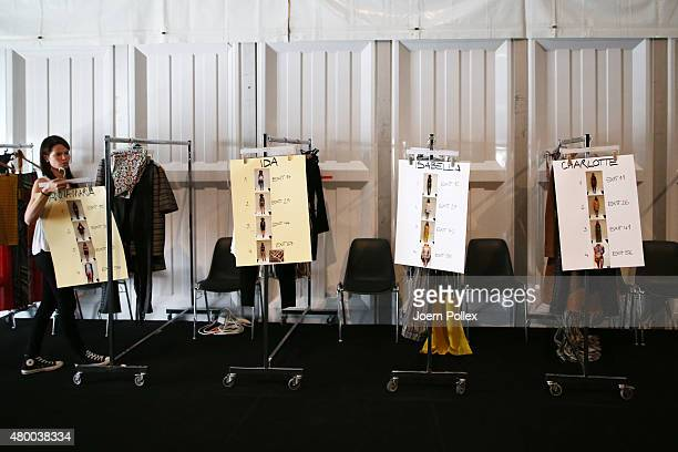 Clothes rails for the models are seen backstage ahead of the Dimitri show during the Mercedes-Benz Fashion Week Berlin Spring/Summer 2016 at...
