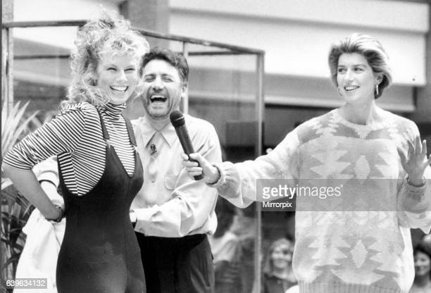 Clothes Show presenters Jeff Banks and Selena Scott with Suzanne Baxter wearing a catsuit The Paviliions shopping centre Birmingham 7th September 1989