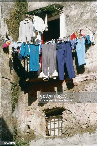 Clothesline in the town of Calcata Italy