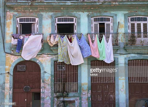 Clotheslines on colorful house in Old Havana, Cuba