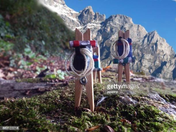 Clothespins exploring the mountain