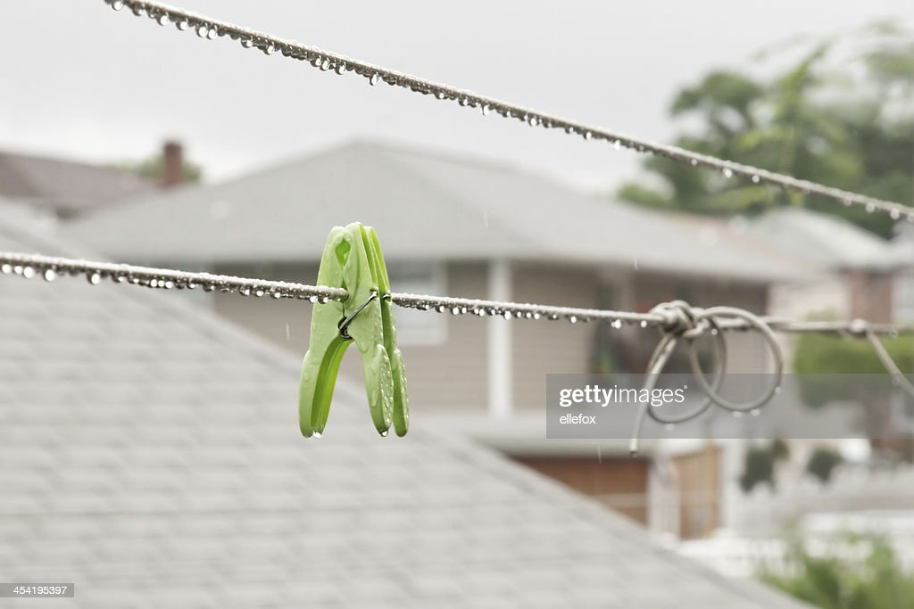 Clothespins in the Rain : Stock Photo
