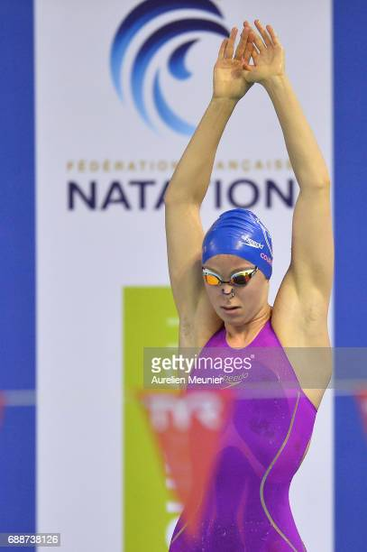 Clothilde Cousson prepares to compete in the 200m Women's Individual Backstroke final on day four of the French National Swimming Championships on...