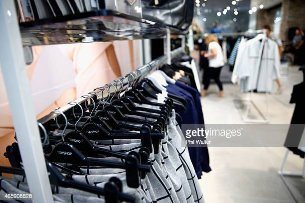 Clothing and displays are pictured before the opening of New Zealand's first TopShop and TopMan store on March 12 2015 in Auckland New Zealand Fans...
