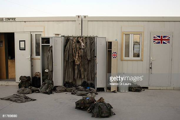 Clothing and kit of Royal Navy Sea Kings 846 Naval Air Squadron Commando Helicopter Force hangs in and around a locker on June 25 2008 at their base...