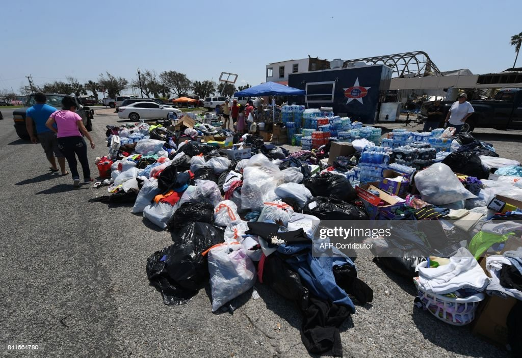A Clothing And Water Donation Distribution Point After Hurricane