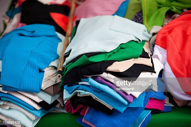 Clothing at an outdoor flea market street stall