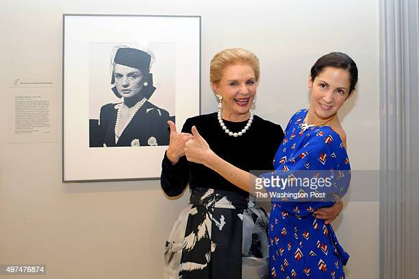 Clothing designer Carolina Herrera poses with her daughter Patricia Lansing in front of her portrait hanging at the National Portrait Gallery...