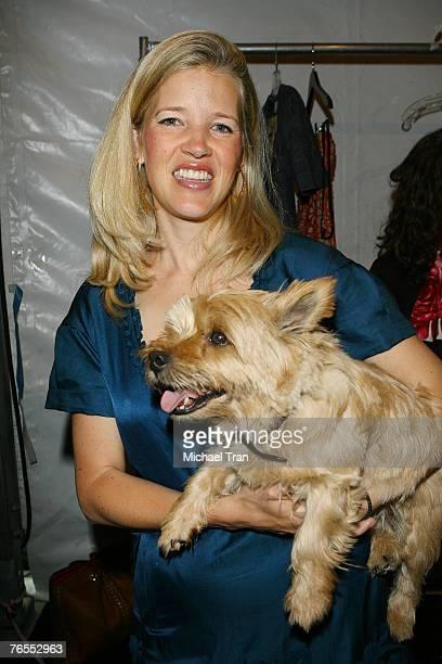 Clothing designer Lela Rose and her dog Stitch backstage at Lela Rose Spring 2008 Collection at Bryant Park on September 6 2007 in New York City
