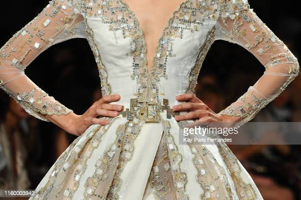 Clothing detail as a model walks the runway during the Ziad Nakad Fall/Winter 2019 2020 show as part of Paris Fashion Week on July 03 2019 in Paris...