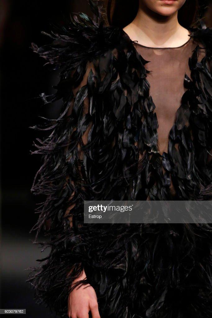 Clothing detail at the Alberta Ferretti show during Milan Fashion Week Fall/Winter 2018/19 on February 21, 2018 in Milan, Italy.