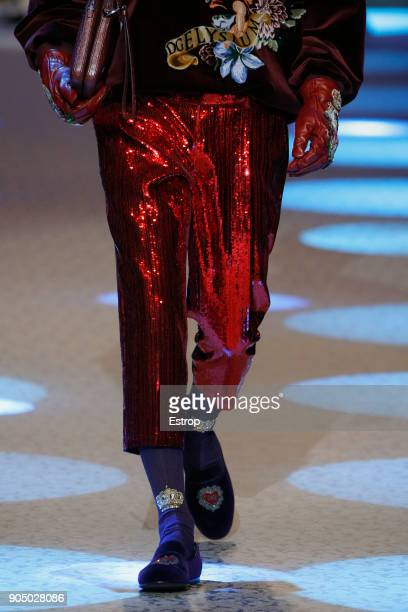 Clothing detail at the Dolce Gabbana show during Milan Men's Fashion Week Fall/Winter 2018/19 on January 13 2018 in Milan Italy
