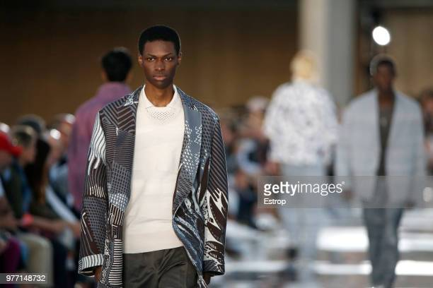 Clothing detail at the Ermenegildo Zegna show during Milan Men's Fashion Week Spring/Summer 2019 on June 15 2018 in Milan Italy