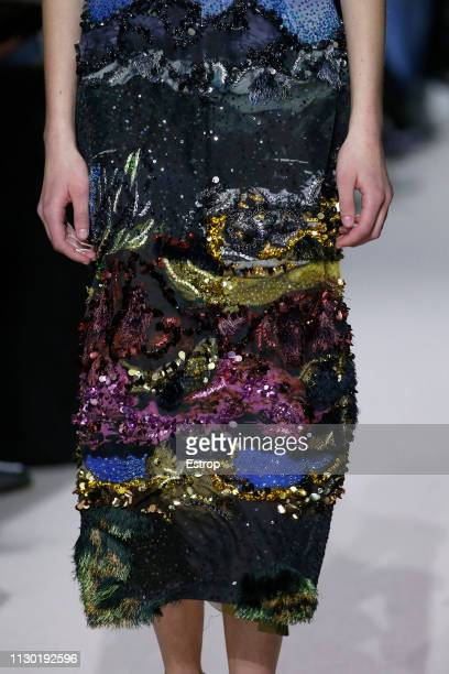 Clothing detail at the Mary Katrantzou show during London Fashion Week February 2019 at the Coutts Garden Court on February 16 2019 in London England