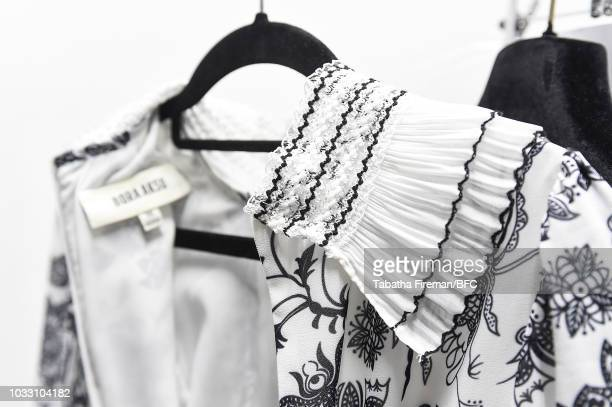 Clothing detail backstage ahead of the Bora Aksu show during London Fashion Week September 2018 on September 14 2018 in London England