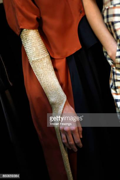 Clothing detail backstage ahead of the Lucio Vanotti show during Milan Fashion Week Spring/Summer 2018on September 21 2017 in Milan Italy