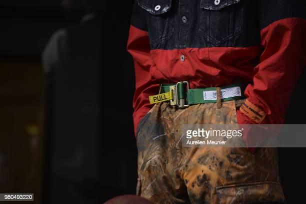 A clothing detail during the Heron Preston Menswear Spring/Summer 2019 'En Vogue' Presentation as part of Paris Fashion Week on June 21 2018 in Paris...