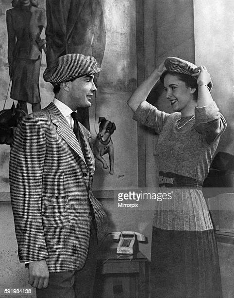 Clothing Fashion 1940s Man Wears Hat Models Gayna Bright 17 and John Kylie wearing tweed hats