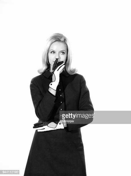 Fashion Gloves Woman wearing two tone gloves Model AnnaMarie Greeber 1966