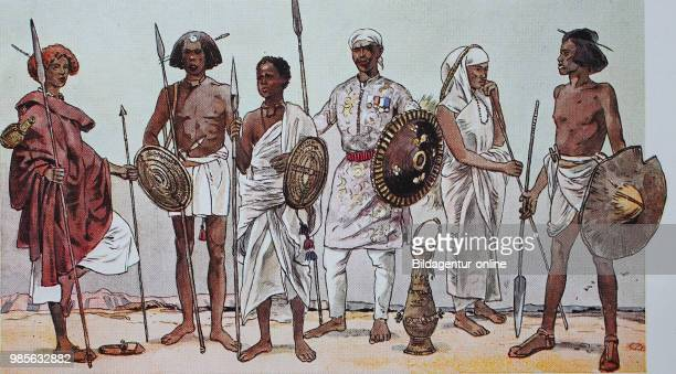 Clothing fashion in Africa East Africa from the left an Ugly warrior Somali in marching gear a Somali warrior and a young cottonthrowing Somali...