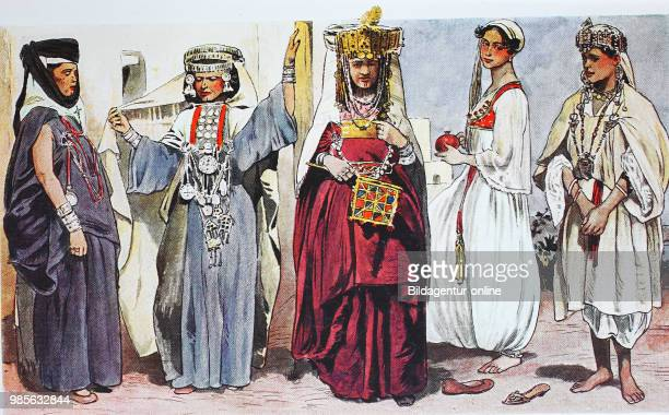 Clothing fashion in Algeria Algiers around the 19th century from the left three dancers or entertainers a lady from Algiers in a housecoat and a...