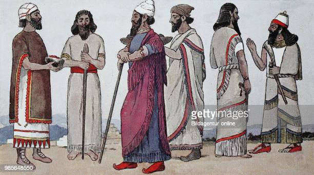 Clothing fashion in Assyria 127 century BC sacrifice robes from left man from northwest Mesopotamia brings tribute a citizen of Nineveh Prince of...
