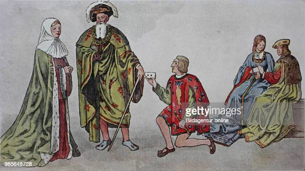 Clothing fashion in France from 14851510 farm uniforms from left lady in mourning old gentleman in a wide coat messenger with sealed letter and a...