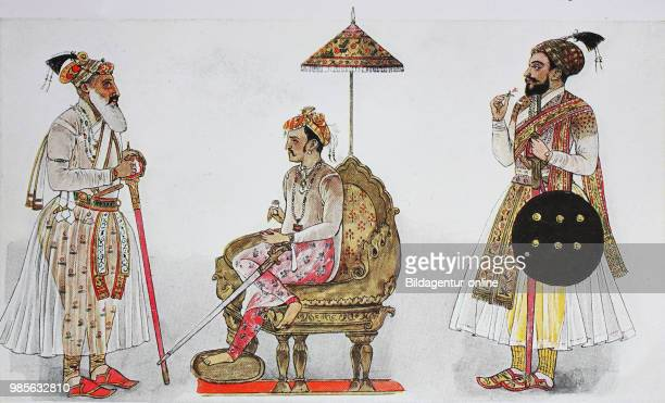 Clothing fashion in India from 16001800 from left a distinguished rascal a caste of the Hindu then Jihangir son of Akbar the Great Grand Mogul of...