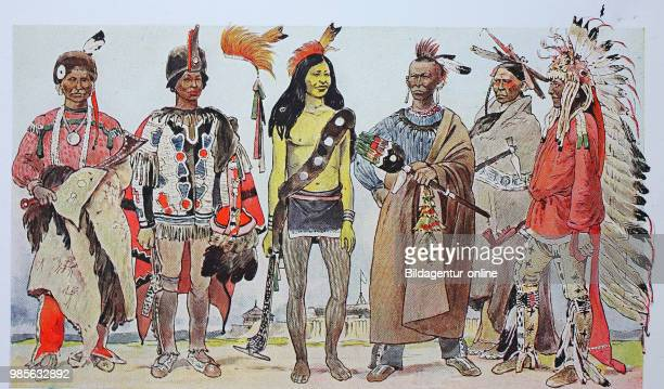 Clothing fashion in North America Indians from the left an Iowa chief with a beaver cap and feather then a chief of the Saki then a young Sioux then...