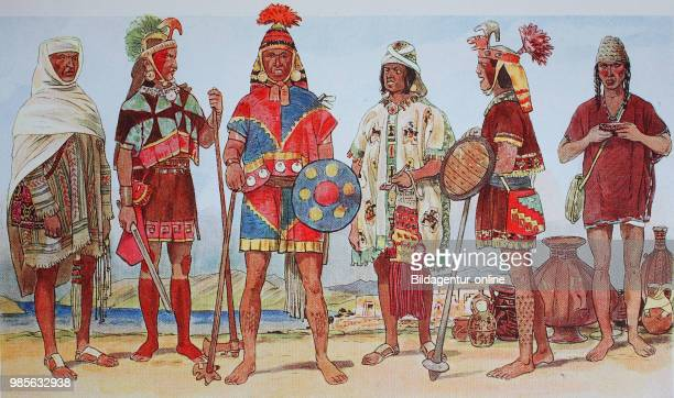 Clothing fashion in South America the Inca in Peru in the 1516 century from the left a distinguished man with a shawl a distinguished warrior a...
