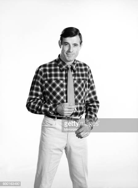 Fashion Menswear Man wearing check shirt Model Peter Anthony 1962