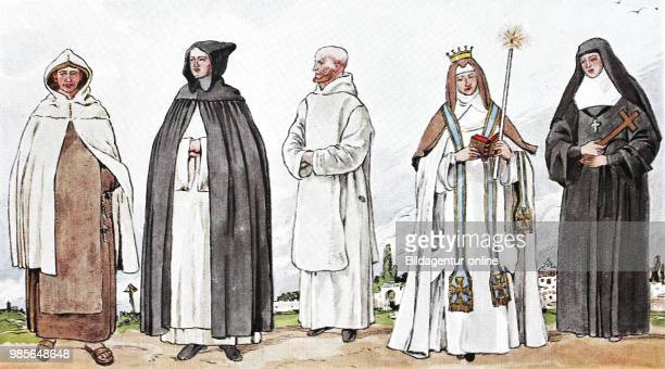 Clothing, fashion of the monks and nuns in the Middle Ages, from the left, Carmelite in dress, charcoal in drapery, Carthusian in house, carthusian...
