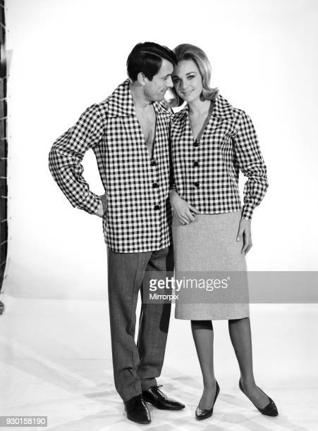 Fashion Shirt and blouse Models Peter Anthony and Pamela Love lock at the Reveille Studio Couples 1964