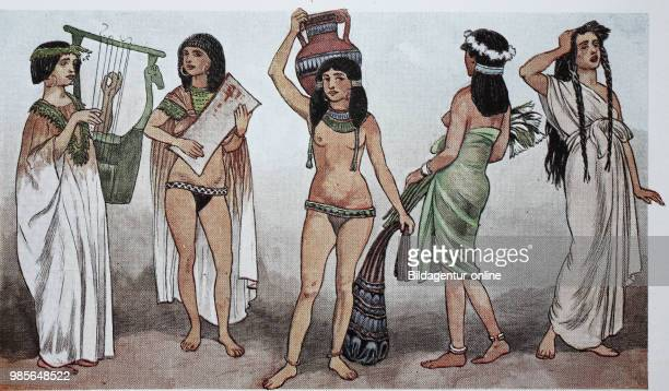 Clothing in ancient Egypt in the new kingdom around 1530 BC from left woman with harp in long shirt dress woman with tambourine slave with clay jug...