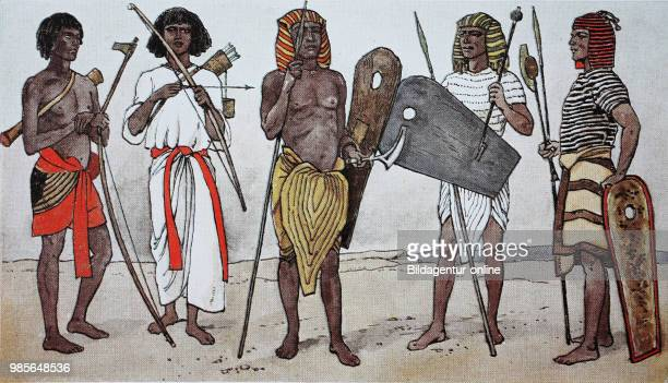Clothing in ancient Egypt in the Ramesside period 13501200 BC from the left two Nubian archers and then three soldiers with ordinary headscarf...