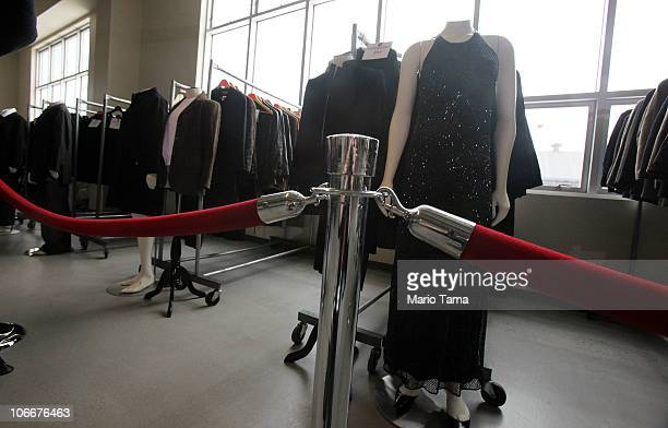 Clothing is displayed at a press preview of an auction of 400 pieces of personal property jewelry and antiques from Bernard and Ruth Madoff November...