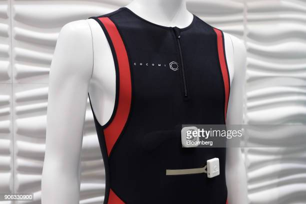Clothing made with Toyobo Co's Cocomi stretchable conductive film is displayed on a mannequin at the Wearable Expo in Tokyo Japan on Thursday Jan 18...