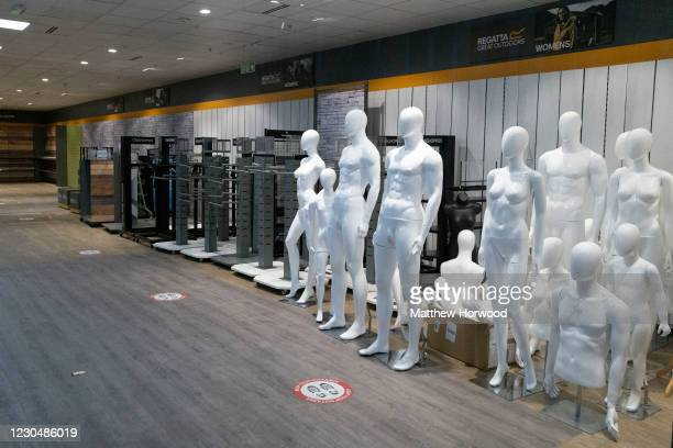 Clothing mannequins gathered together in a Regatta Great Outdoors shop which has closed down on January 8, 2021 in Cardiff, Wales. Wales entered a...