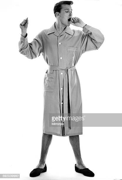 Clothing Mens Fashion 1950s Peter Sinclair seen here modelling the pyjama dressing gown combination October 1957