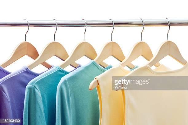 Clothing Merchandise, Shirts Hanging on Coathanger Rack Retail Display