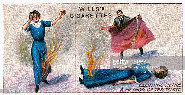 'Clothing on fire and method of treatment' Wills' cigarette card Wills' cigarette card 1913 One of a series of 50 'First Aid' cigarette cards issued...
