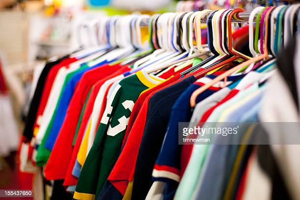 Clothing Rack full of T-Shirts at a Thrift Store