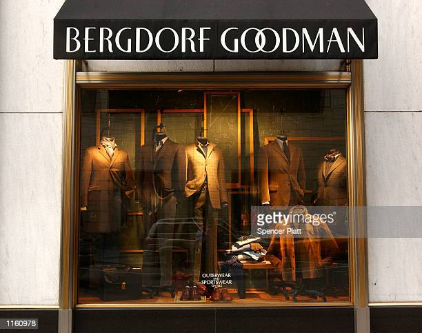 Clothing sits in a window display at the luxury clothing store Bergdorf Goodman September 10, 2001 in New York City.