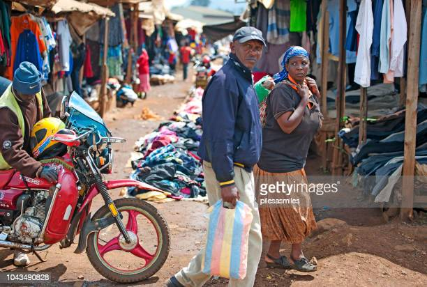 clothing stalls and locals, nairobi, kenya, africa - nairobi stock pictures, royalty-free photos & images