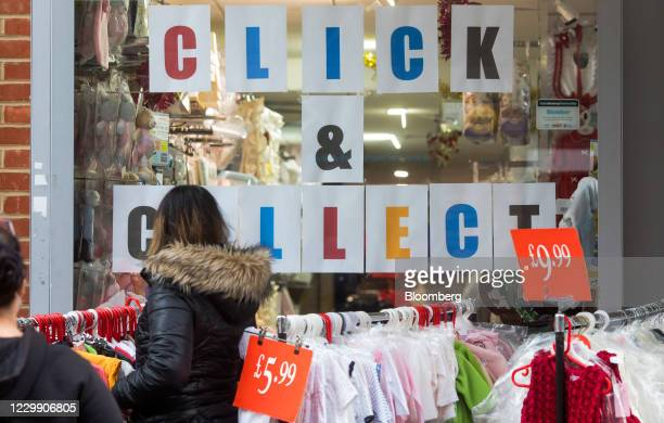 Clothing store advertises a click and collect service in Chatham, U.K., on Wednesday, Dec. 2, 2020. Most of England's retailers are emerging from...