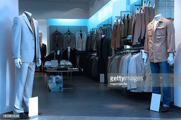 Clothing store with various men clothing and suits